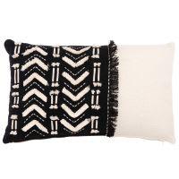 Funda de cojín de algodón bordado color negro y crudo 30x50 Puno