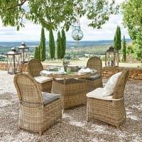 Garden chair in resin wicker with ecru cushion St Raphaël