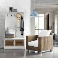 Garderobenmöbel aus Holz mit 5 Kleiderhaken, B 96cm, weiß Ouessant