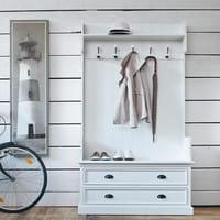 Garderobenmöbel mit 5 Kleiderhaken, B 110cm, weiß Newport