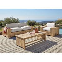 Gartenbank 2/3-Sitzer aus Teakholz mit naturweißen Kissen Feria
