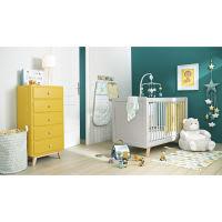 Geel/groene katoenen bedrand voor babybed 45 x 180 cm Gaston