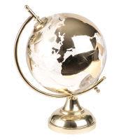 Globe terrestre lumineux en verre et métal dorés