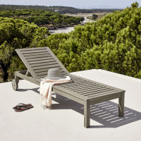 Grey Acacia Sun Lounger with Wheels Jersey