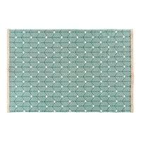 Groen katoenen tapijt met grafisch motief 140x200
