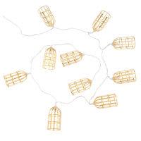Guirnalda de luces jaulas de metal dorado