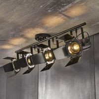 metal ceiling light with 4 directional spotlights, black W 103cm Hollywood