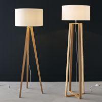 wood and cotton floor lamp H 160cm Iceberg