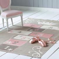 Kindertapijt met hinkelspel grijs en roze katoen 120x180 Princesse
