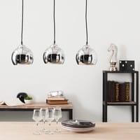 Lámpara de techo triple de aluminio cepillado Diám. 70 cm Trio