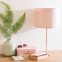 Lampe en métal cuivré abat-jour rose Queens