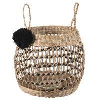 Lanterne en bambou avec pompon noir