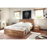 Letto 160x200 in massello di legno di sheesham Stockholm   Maisons ...