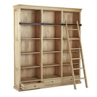 Mango Wood Bookcase with Ladder Naturaliste