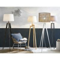 wood and cotton tripod floor lamp H 158cm Matelot