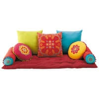Meerkleurige katoenen matras met 7 kussens Roulotte