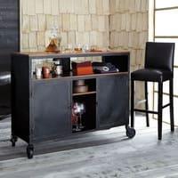 Meuble de bar à roulettes en métal noir L 127 cm Industry