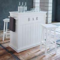 Meuble de bar en pin blanc L 120 cm Newport