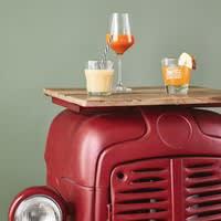 Meuble de bar indus en métal rouge Tracteur