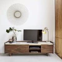 Meuble TV 3 portes en acacia massif et marbre blanc Cappuccino