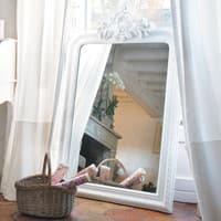 Miroir trumeau sculpté en paulownia blanc H 120 cm Altesse