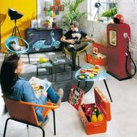 Möbel  im Zapfsäulen-Design aus Metall, B 51 cm, rot Californie