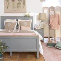Nachttisch mit 1 Tür und 1 Schublade aus Kiefernholz, grau Honorine