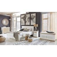 Nachttisch mit 1 Tür und 1 Schublade aus massivem Mangoholz, weiß Cezembre