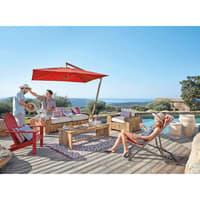 Outdoor-Kissen aus rot und weiß gestreiftem Stoff 45x45 Espelette