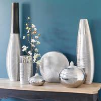 Ovale Keramikvase, H 26cm, silbern
