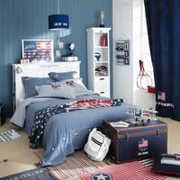 Parure de lit chambray en coton bleu 220x240 Princeton