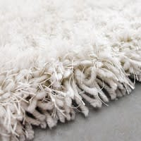 fabric long pile rug in ecru 140 x 200cm Polaire