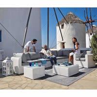 Poltrona bianca da giardino in resina intrecciata Mykonos