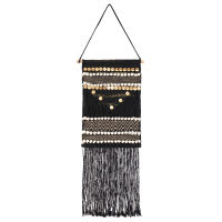 Printed Black Woven Wall Hanging with Gold Sequins 30x40 Zaoma