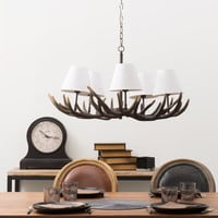 resin and cotton 5 branch chandelier in white D 75cm Ramure