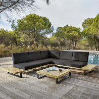 Salon de jardin 4/5 places en aluminium et acacia massif Bahamas ...