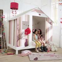 Schlaufenvorhang aus Baumwolle, 105x250, weiß und rosa Iduna