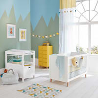 Schlaufenvorhang aus Baumwolle weiß und gelb 110x250 Gaston