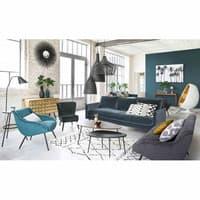 Sessel aus Velours im Vintage-Stil, blau und Metall Joyce