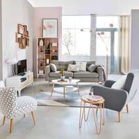 Skandinavisches 3-Sitzer-Sofa, hellgrau Brooke