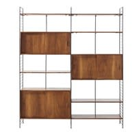 Solid Acacia and Black Metal Vintage 6-Door Shelf Unit Yucca