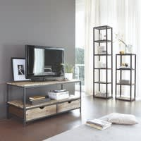 Solid Fir and Metal Industrial Shelf Tower Unit Long Island