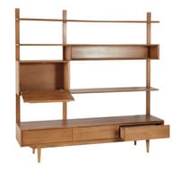 Solid Oak Vintage TV Shelf Unit Portobello