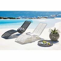 Sonnenliege aus Metall und Kunstharz-Gewebe in Weiß Copacabana