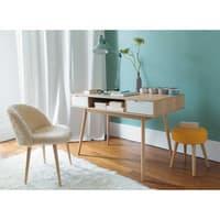 Stuhl im Vintage-Stil aus elfenbeinfarbenem Kunstfell und Birkenholz Mauricette