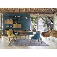 Stuhl im Vintage-Stil aus türkisblauem Samt und Massivbirke Mauricette