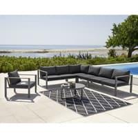 Table basse de jardin ronde en aluminium et verre trempé noir Thetis