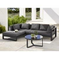 Table basse de jardin ronde en aluminium et verre trempé noir Thetis ...