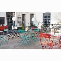Table de jardin pliante en métal rouge 2 personnes L70 Guinguette ...