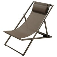 Taupe Canvas and Metal Folding Deckchair Split